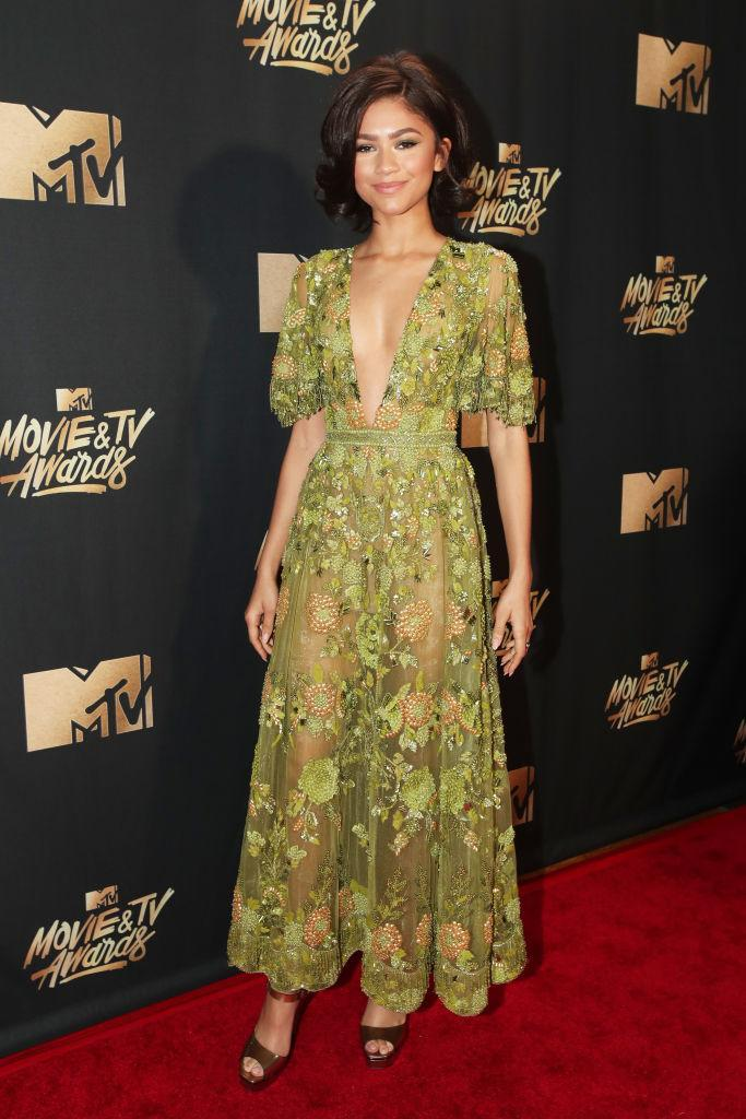 <p>For the 2017 MTV Movie and TV Awards, Zendaya chose a flute-sleeved gown by Zuhair Murad. <em>[Photo: Getty]</em> </p>