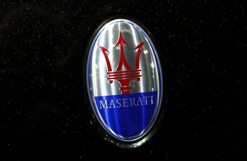 The company logo is seen on the bonnet of a Maserati car during the media day ahead of the 84th Geneva Motor Show in Geneva