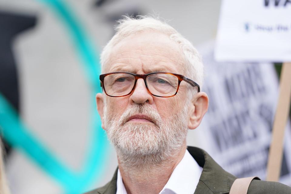 Former Labour leader Jeremy Corbyn joins the demonstration in Parliament Square (PA)