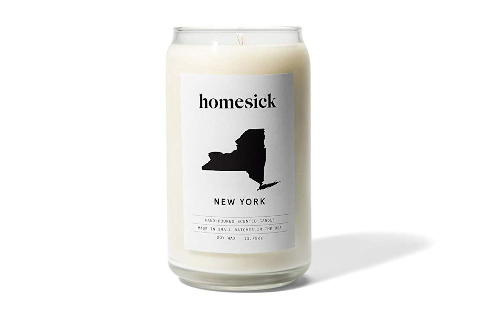 "<p>Anyone will be into a sentimental candle to remember where they came from. So sweet.</p><br><br><strong>Homesick Candles</strong> Homesick Scented Candle, New York, $30, available at <a href=""https://www.amazon.com/Homesick-HSCA1-MI-WH01-Scented-Candle-Michigan/dp/B06XGKB3BZ"" rel=""nofollow noopener"" target=""_blank"" data-ylk=""slk:Amazon"" class=""link rapid-noclick-resp"">Amazon</a>"