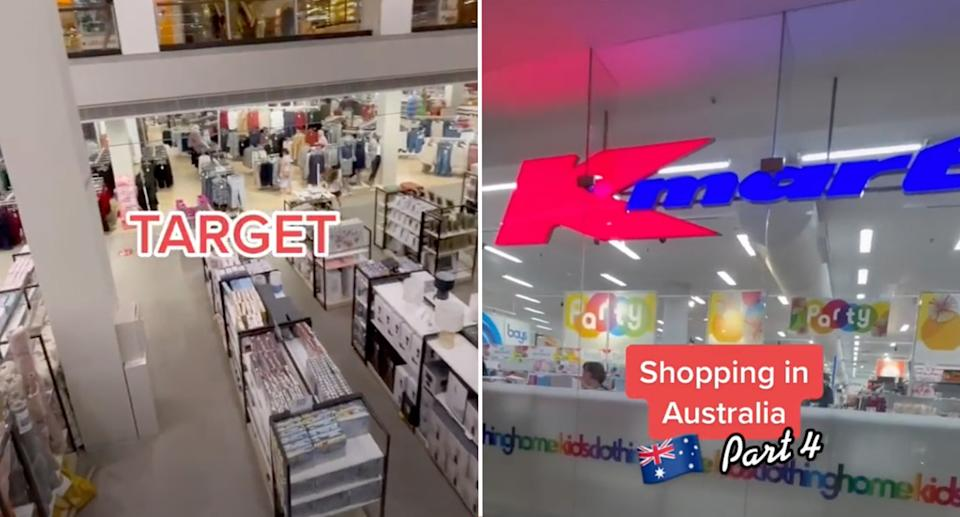 The expat's TikTok stills of her video reviews of Target and Kmart.