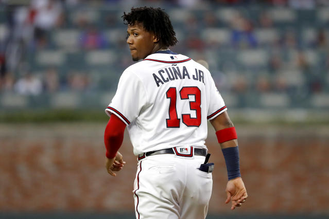 Ronald Acuna Jr. is the consensus top pick in Yahoo drafts — but should he be? (Photo by Kevin C. Cox/Getty Images)