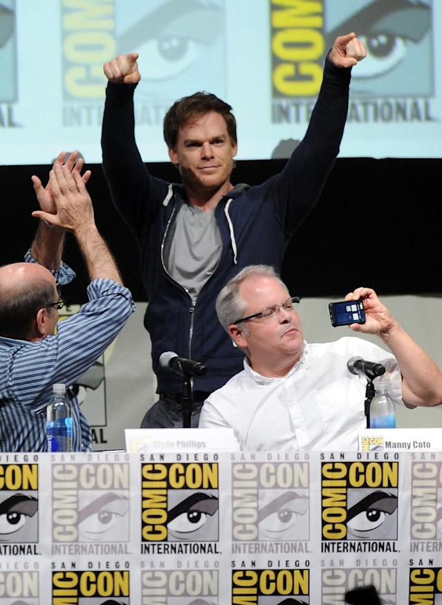 "SAN DIEGO, CA - JULY 18: Michael C. Hall speaks onstage at Showtime's ""Dexter"" panel during Comic-Con International 2013 at San Diego Convention Center on July 18, 2013 in San Diego, California. (Photo by Kevin Winter/Getty Images)"