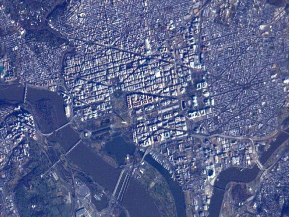 Snapped from the International Space Station on Sunday (Jan. 20), this photo shows the National Mall from orbit.
