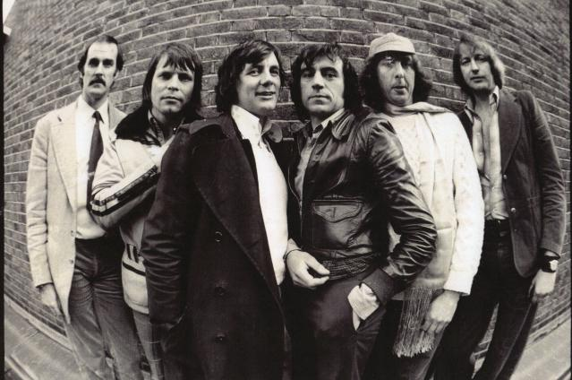 Monty Pythons John Cleese, Terry Gilliam, Michael Pail, Terry Jones, Eric Idle, Graham Chapman, Los Angeles, May 16th, 1975. (Photo by Ben Martin/Getty Images)