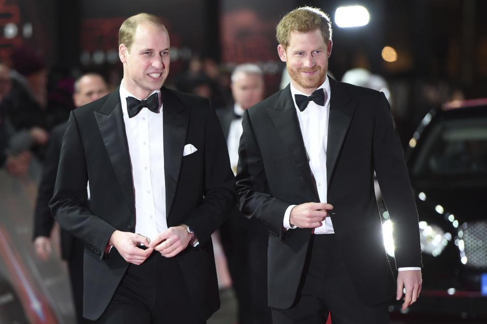 "June 21st 2020 - Prince William The Duke of Cambridge celebrates his 38th birthday. He was born on June 21st 1982 at St. Mary's Hospital in London, England, United Kingdom. - File Photo by: zz/KGC-375/STAR MAX/IPx 2017 12/12/17 Prince William The Duke of Cambridge and Prince Harry at the European premiere of ""Star Wars: The Last Jedi"" held at The Royal Albert Hall. (London, England, UK)"
