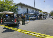 FILE - In this Aug. 15, 2018, file photo, police crime scene tape blocks the entrance to an apartment complex following the arrest of a 45-year-old Iraqi refugee Omar Ameen in Sacramento, Calif. A federal judge in California refused Wednesday, April 21, 2021, to allow the extradition to Iraq of Ameen, accused of killing for the Islamic State, saying cellphone evidence shows he was in Turkey at the time of the slaying. The U.S. Justice Department has tried since 2018 to return Omar Abdulsattar Ameen to Iraq under a treaty with that nation. (AP Photo/Rich Pedroncelli, File)