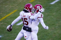 Rutgers wide receiver Shameen Jones (15) celebrates a touchdown catch with teammate Aron Cruickshank (2) during the first quarter of an NCAA college football game against Purdue in West Lafayette, Ind., Saturday, Nov. 28, 2020. (AP Photo/Michael Conroy)