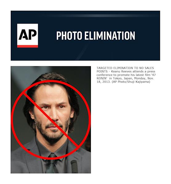 TARGETED ELIMINATION TO NO SALES POINTS - Keanu Reeves attends a press conference to promote his latest film '47 RONIN' in Tokyo, Japan, Monday, Nov. 18, 2013. (AP Photo/Shuji Kajiyama)