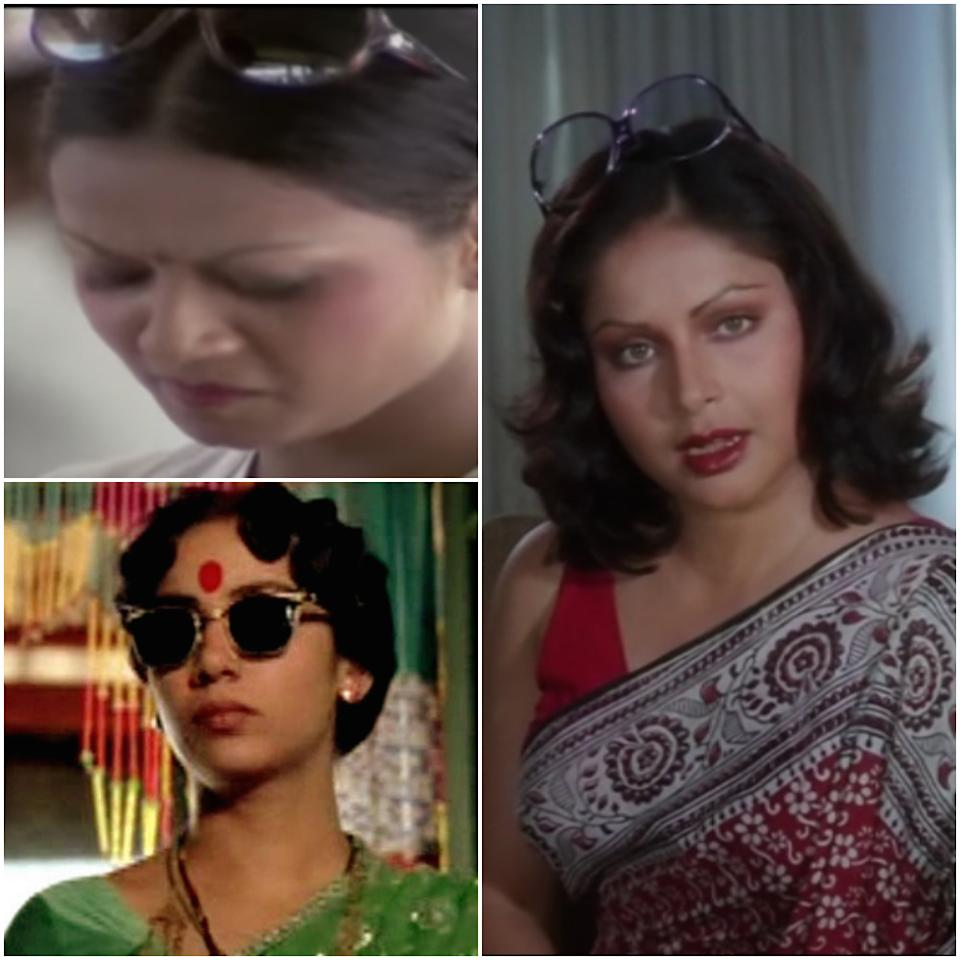 An ad professional, a brothel madam or an office girl, a pair of snazzy sunnies is a must have for working women all and sundry. Rakhee Gulzar in Doosra Aadmi (1977), Shabana Azmi in Mandi (1983) and Zarina Wahab in Gharaonda (1977)