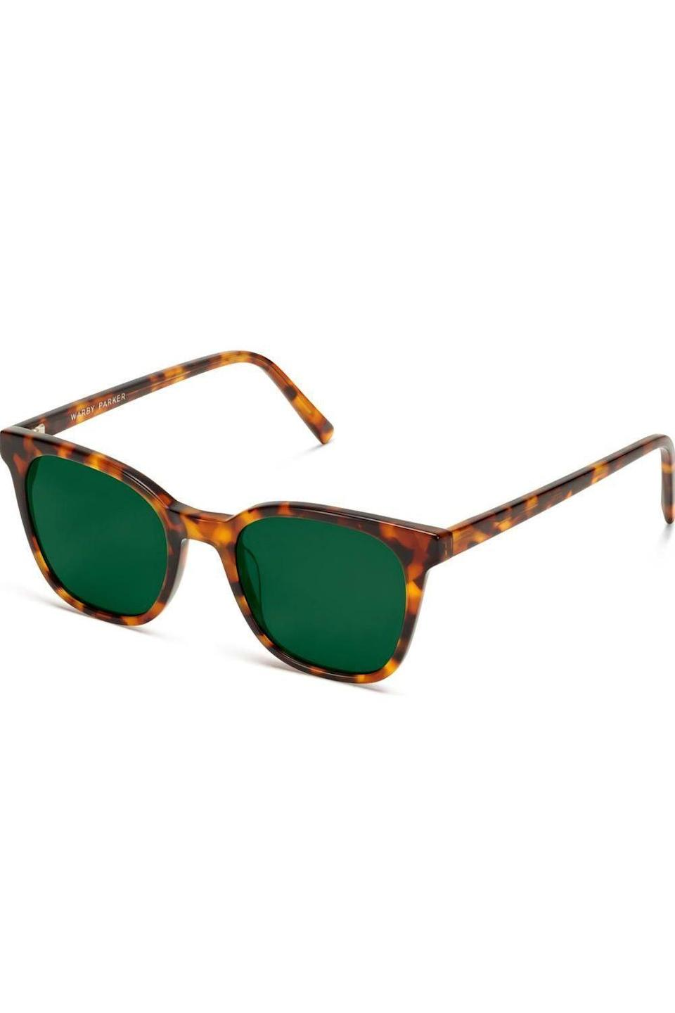"""<p><strong>Warby Parker</strong></p><p>warbyparker.com</p><p><strong>$95.00</strong></p><p><a href=""""https://go.redirectingat.com?id=74968X1596630&url=https%3A%2F%2Fwww.warbyparker.com%2Fsunglasses%2Fwomen%2Fgriffin%2Facorn-tortoise&sref=https%3A%2F%2Fwww.redbookmag.com%2Flife%2Fg34770397%2Fgifts-that-give-bac1%2F"""" rel=""""nofollow noopener"""" target=""""_blank"""" data-ylk=""""slk:SHOP NOW"""" class=""""link rapid-noclick-resp"""">SHOP NOW</a></p><p>Encourage some shadiness with these classic square frames in goes-with-everything tortoiseshell. For every pair purchased, Warby Parker distributes a pair to someone in need. </p>"""