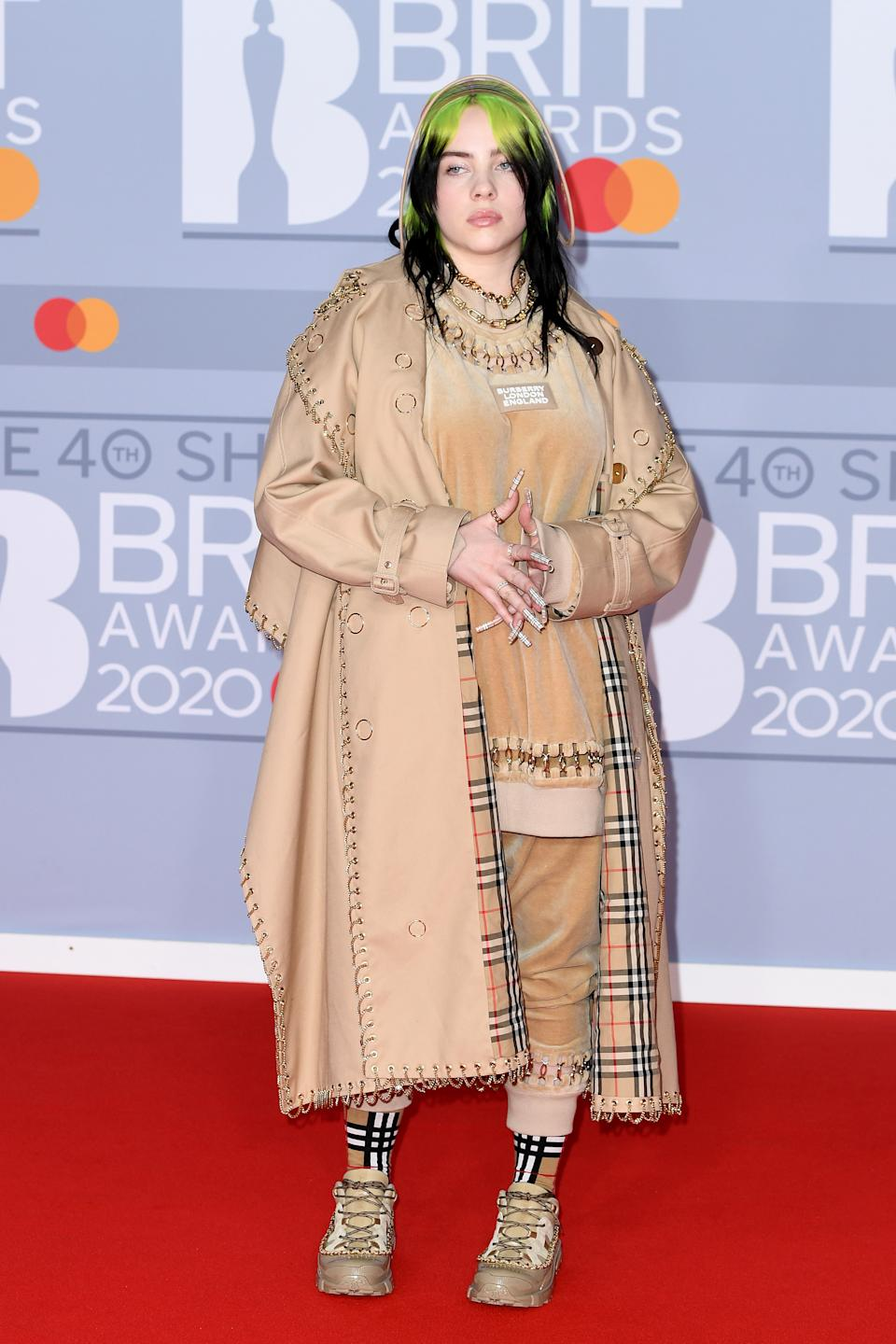 """Billie Eilish says she wears baggy clothes to be comfortable and describes her relationship with her body as """"toxic."""" (Photo by Gareth Cattermole/Getty Images)"""