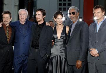 """Premiere: <a href=""""/movie/contributor/1800020103"""">Gary Oldman</a>, <a href=""""/movie/contributor/1800014833"""">Michael Caine</a>, <a href=""""/movie/contributor/1800018597"""">Christian Bale</a>, <a href=""""/movie/contributor/1800018992"""">Katie Holmes</a>, <a href=""""/movie/contributor/1800020214"""">Morgan Freeman</a> and <a href=""""/movie/contributor/1800019540"""">Liam Neeson</a> at the Hollywood premiere of Warner Bros. Pictures' <a href=""""/movie/1808490910/info"""">Batman Begins</a> - 6/6/2005<br>Photo: <a href=""""http://www.wireimage.com/"""">Lester Cohen, WireImage.com</a>"""