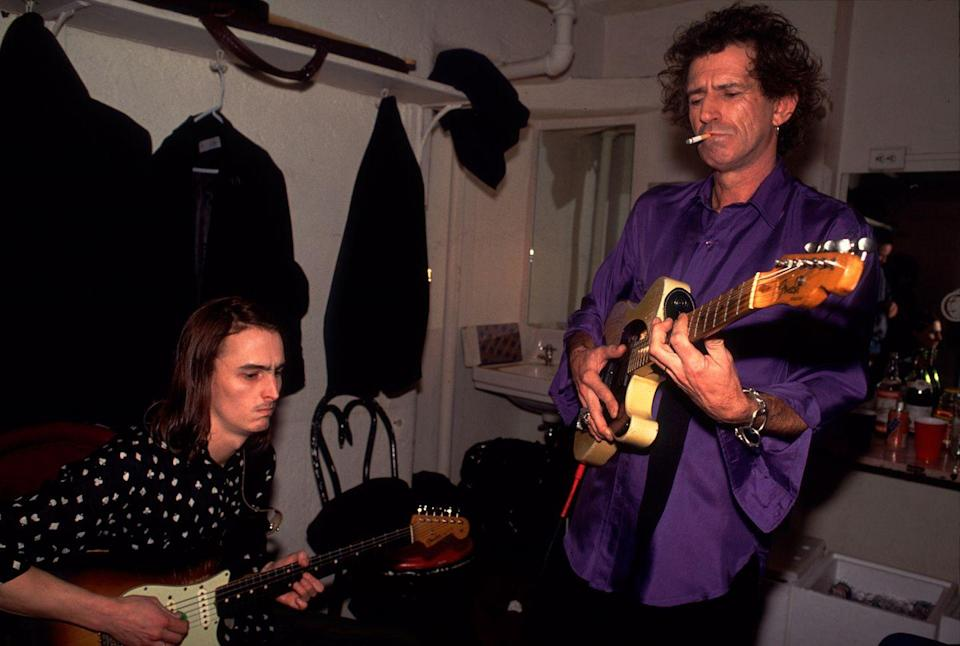 <p>Keith Richards backstage with Mike McCready, of Pearl Jam, at the Academy in NYC on December 31, 1992.</p>