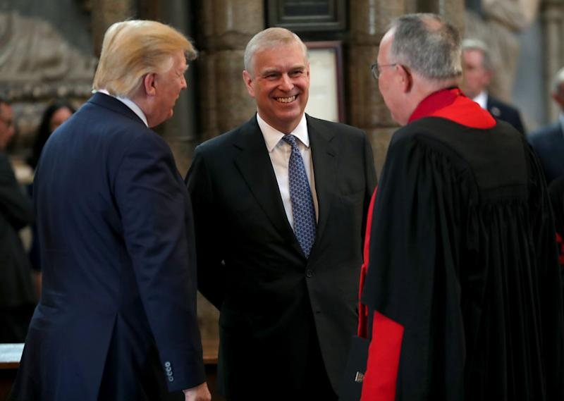 Prince Andrew with President Donald Trump and Dean of Westminster John Hall during Trump's visit to Westminster Abbey on June 3, 2019 in London.
