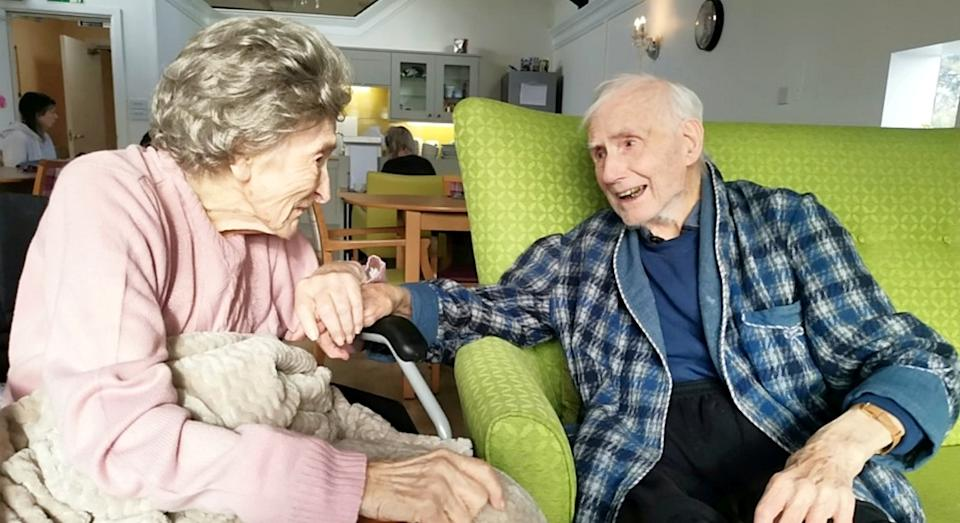 Joan and Frank Howell were reunited in the same care home after five months apart (SWNS)