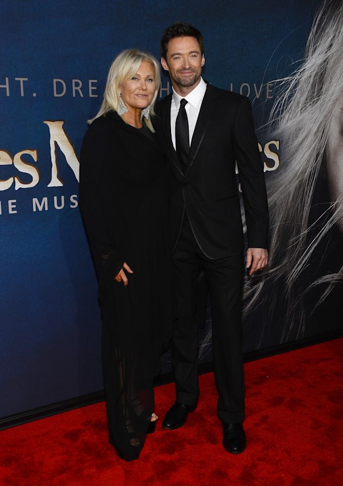 """NEW YORK, NY - DECEMBER 10:  Deborra-Lee Furness and Hugh Jackman attend the """"Les Miserables"""" New York Premiere at Ziegfeld Theater on December 10, 2012 in New York City.  (Photo by Larry Busacca/Getty Images)"""