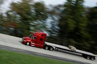A Navistar LT Series truck drives around the track at the Navistar Proving Grounds in New Carlisle, Indiana, U.S., October 12, 2016. REUTERS/Jim Young