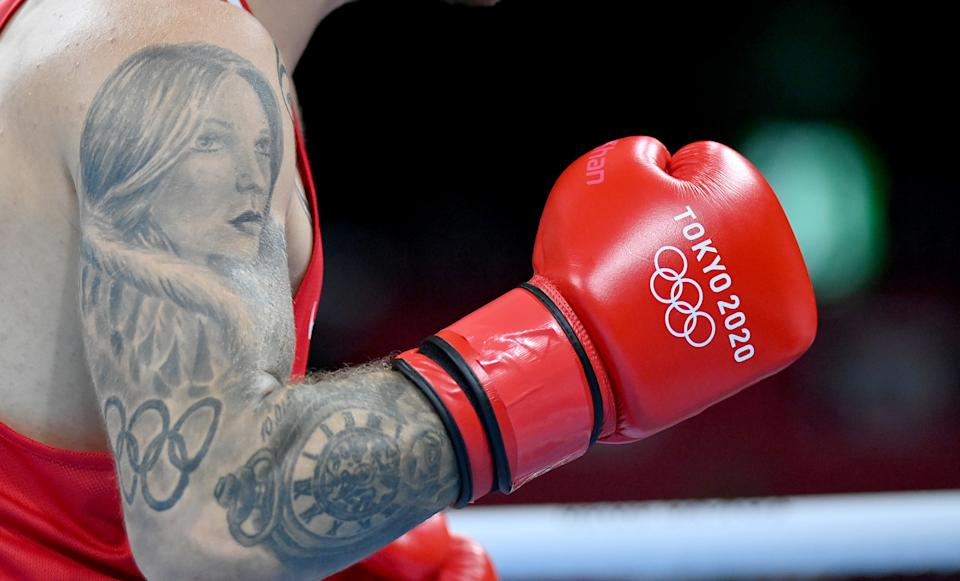 <p>TOKYO, JAPAN - JULY 25: A tattoo is seen on the arm of Luka Plantic of Croatia during the Men's Light Heavy (75-81kg) on Day 2 of the Tokyo 2020 Olympic Games at Kokugikan Arena on July 25, 2021 in Tokyo, Japan. (Photo by Luis Robayo - Pool/Getty Images)</p>
