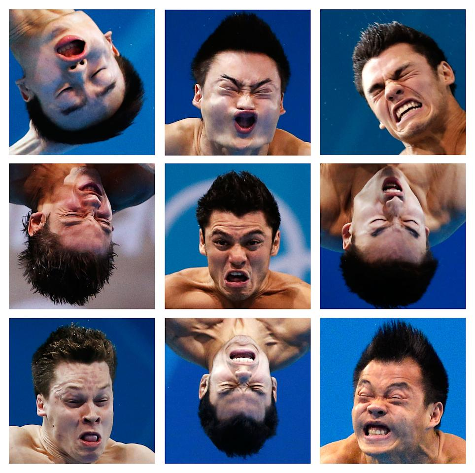 A combination picture shows close-ups of divers' faces during the London 2012 Olympic Games. Athletes shown are, top row (L to R) China's Qin Kai, China's Qin Kai, Mexico's Yahel Castillo Huerta .Middle row (L to R) Ukraine's Illya Kvasha, Mexico's Yahel Castillo Huerta, China's Qin Kai. Bottom row (L to R) Germany's Patrick Hausding, Mexico's Yahel Castillo Huerta, china's He Chong.  Pictures taken on various dates since the start of the Games.  REUTERS/Staff (BRITAIN  - Tags: OLYMPICS TPX IMAGES OF THE DAY)