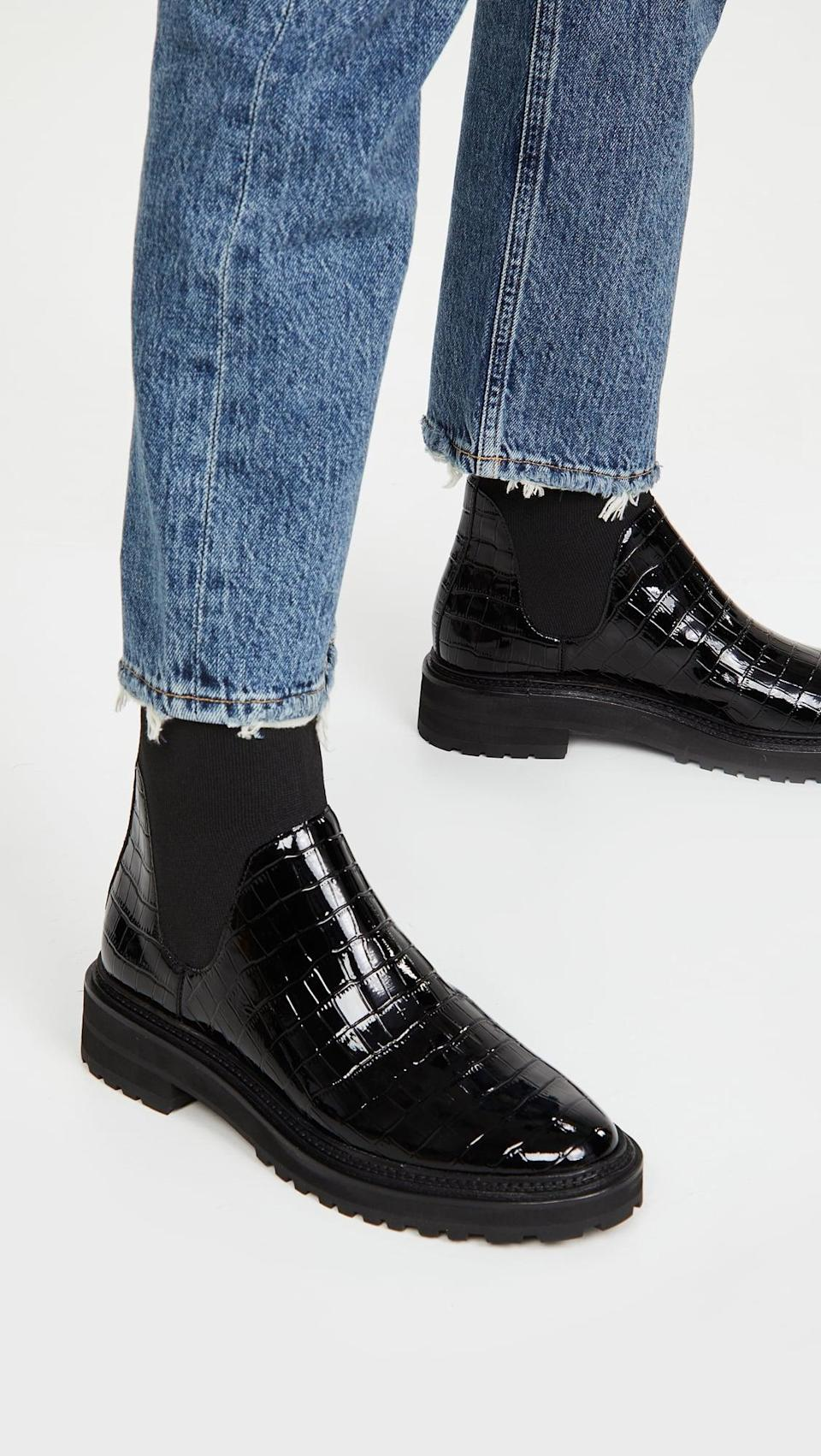 <p>Opt for something different and get the <span>Loeffler Randall Bridget Chelsea Combat Boots</span> ($395). The patent-croc texture is cool, yet subtle.</p>