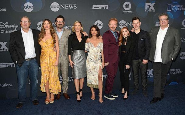 PHOTO: 'Modern Family' cast members, from left, Ed O'Neill, Sofia Vergara, Ty Burrell, Julie Bowen, Sarah Hyland, Jesse Tyler Ferguson, Ariel Winter, Nolan Gould and Eric Stonestreet pose together at the Walt Disney Television 2019 upfront. (Evan Agostini/Invision/AP)