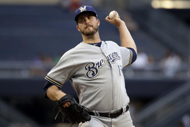Milwaukee Brewers starting pitcher Drew Pomeranz delivers during the first inning of the team's baseball game against the Pittsburgh Pirates in Pittsburgh, Wednesday, Aug. 7, 2019. (AP Photo/Gene J. Puskar)
