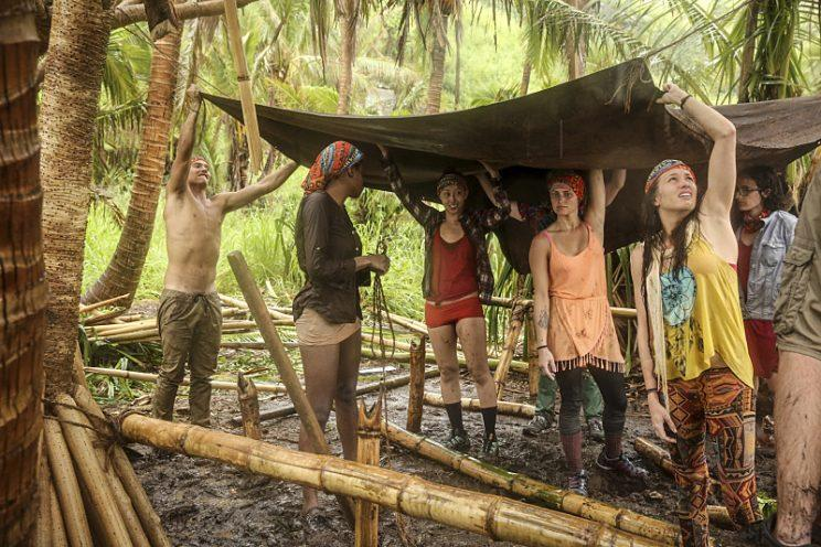 Justin Starrett, Michaela Bradshaw, Mari Takahashi, Jessica Figueroa, Michelle Schubert and the rest of the tribe try to stay dry on SURVIVOR: Millennials vs. Gen. X, when the Emmy Award-winning series returns for its 33rd season with a special 90-minute premiere, Wednesday, Sept. 21 (8:00-9:30 PM, ET/PT) on the CBS Television Network. Photo: Monty Brinton/CBS Entertainment ©2016 CBS Broadcasting, Inc. All Rights Reserved.