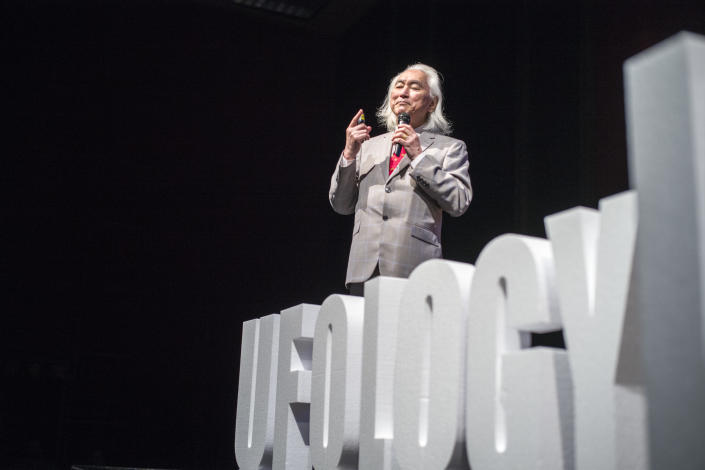 Dr. Michio Kaku speaks at the Ufology World Congress in Barcelona, Spain on September 7, 2019. (Photo: José Colon for Yahoo News)