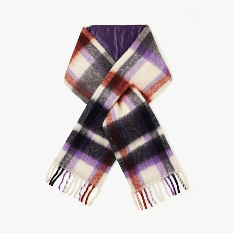 "$366, NET-A-PORTER. <a href=""https://www.net-a-porter.com/en-us/shop/product/holzweiler/net-sustain-fringed-padded-checked-alpaca-blend-scarf/1204667"" rel=""nofollow noopener"" target=""_blank"" data-ylk=""slk:Get it now!"" class=""link rapid-noclick-resp"">Get it now!</a>"
