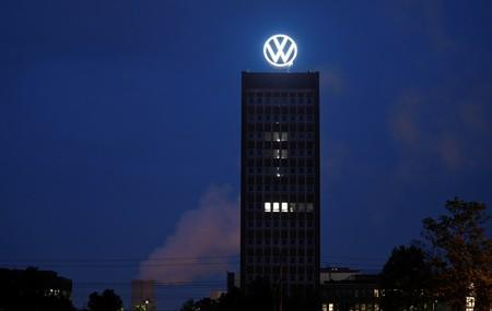 A new logo of German carmaker Volkswagen is unveiled at the Volkswagen headquarters in Wolfsburg