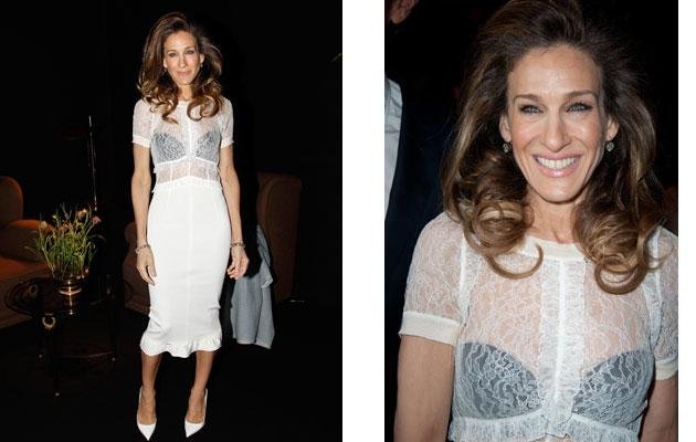 e4667da509 Sarah Jessica Parker channels 1980s Madonna in lace blouse