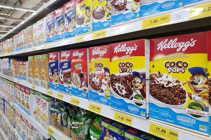 Various band of breakfast cereals on store shelf