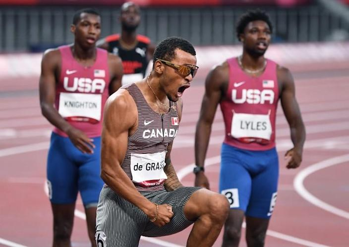 -TOKYO,JAPAN August 4, 2021: Canada's Andre de Grasse celebrates the gold medal in the 200m final at the 2020 Tokyo Olympics. (Wally Skalij /Los Angeles Times)