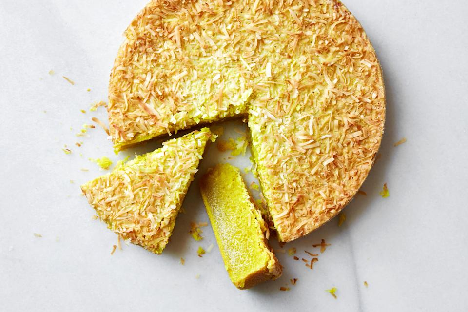 "Coconut seems to go hand-in-hand with Easter desserts. But, if you want to get really creative, this recipe was made for improvisation. Swap the coconut shreds out for sesame seeds or chopped nuts, and the flavoring out for any extracts, powders, or spices you love. Any way you go, you can't go wrong. <a href=""https://www.epicurious.com/recipes/food/views/mochi-cake-any-way-you-want-it?mbid=synd_yahoo_rss"" rel=""nofollow noopener"" target=""_blank"" data-ylk=""slk:See recipe."" class=""link rapid-noclick-resp"">See recipe.</a>"