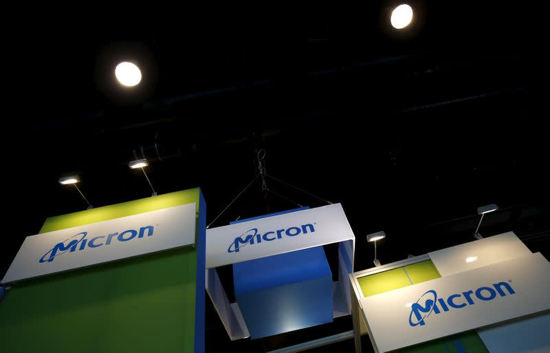 FILE PHOTO: The logo of U.S. memory chip maker MicronTechnology is pictured at their booth at an industrial fair in Frankfurt