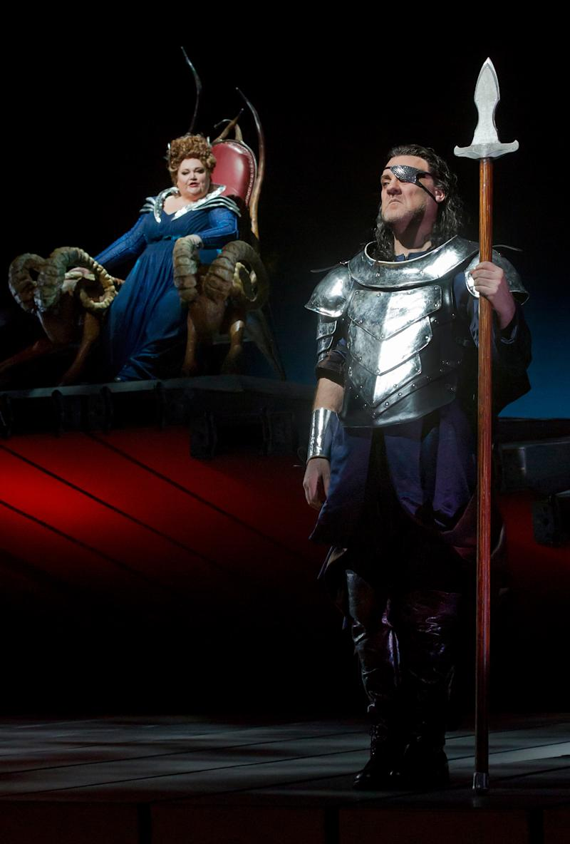 """This April 9, 2012 photo provided by the Metropolitan Opera shows Stephanie Blythe as Fricka and Bryn Terfel as Wotan in a scene from Wagner's, """"Die Walkure,"""" during a dress rehearsal at the Metropolitan Opera in New York. On May 12 the Met concludes the last of three complete presentations of Robert Lepage's production of the four-opera Ring Cycle, which includes Das Rheingold; Die Walkure; Siegfried and Gotterdammerung. (AP Photo/The Metropolitan Opera, Ken Howard)"""
