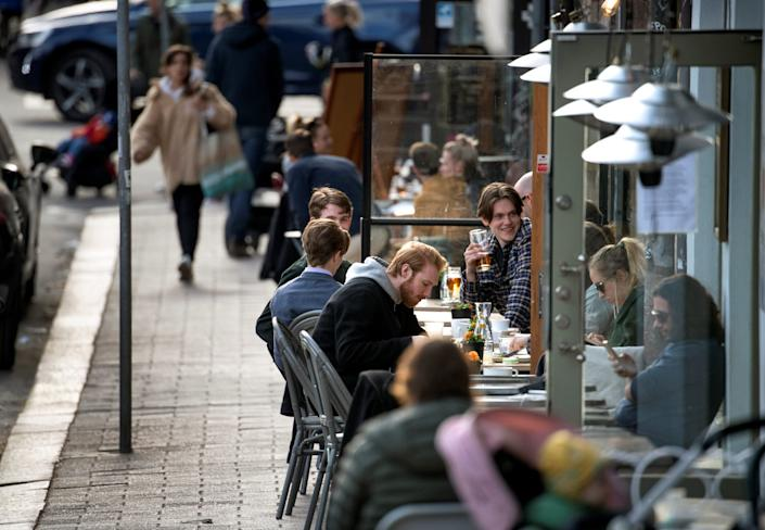 <br> A restaurant amid the coronavirus outbreak in Stockholm on April 20, 2020.