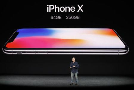 Apple's Schiller introduces iPhone X during a launch event in Cupertino