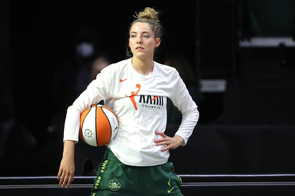 EVERETT, WASHINGTON - MAY 15: Katie Lou Samuelson #33 of the Seattle Storm looks on before the game against the Las Vegas Aces at Angel of the Winds Arena on May 15, 2021 in Everett, Washington. NOTE TO USER: User expressly acknowledges and agrees that, by downloading and or using this Photograph, user is consenting to the terms and conditions of the Getty Images License Agreement. (Photo by Abbie Parr/Getty Images)