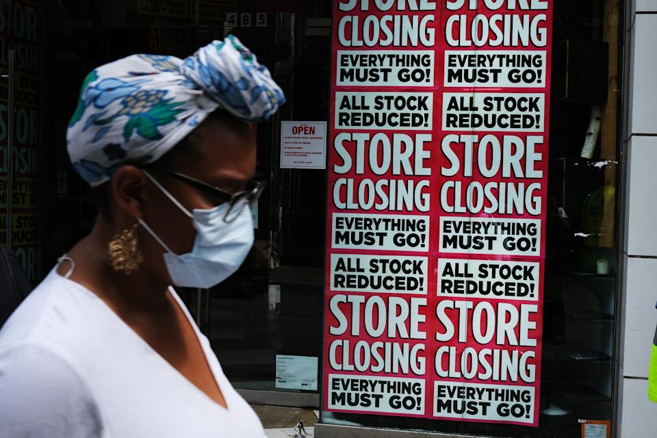 NEW YORK, NEW YORK - JULY 07: A store advertises a sale on July 07, 2020 in the Brooklyn borough of New York City. A report issued by the Center for New York City Affairs last week noted that the city's unemployment rate surged from an historic low of 3.4 percent in February to 18.3 percent in May, with the analysis pointing out that the rate would be an even higher 26 percent in May if unemployed workers who haven't looks for jobs during the pandemic were included. The May umployment rate is twice as high for Black, Latino and Asian New Yorkers as for White New Yorkers.  (Photo by Spencer Platt/Getty Images)