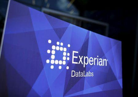 The corporate logo of information services company Experian is seen at the opening of its data lab in San Diego