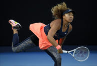 FILE - Japan's Naomi Osaka serves to United States' Jennifer Brady during the women's singles final at the Australian Open tennis championship in Melbourne, Australia, in this Saturday, Feb. 20, 2021, file photo. Osaka withdrew from the French Open after being fined and publicly reprimanded. She sat out Wimbledon, too. So the Tokyo Games mark her return to competition — and it's an occasion that matters to Osaka, who was born in Japan to a Japanese mother and Haitian father. (AP Photo/Andy Brownbill, File)