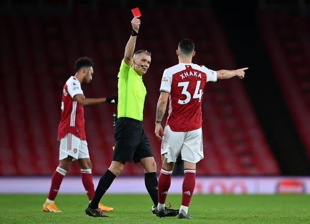 Xhaka received further criticism from fans when he was sent off in the recent defeat to Burnley.