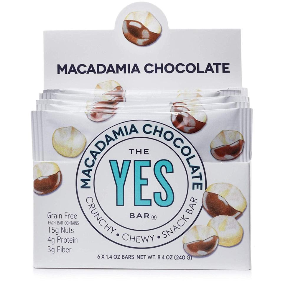 <p>If you're looking for a great bar to have on hand, reach for this <span>Macadamia Chocolate Yes Bar</span> ($15 for 6).</p>