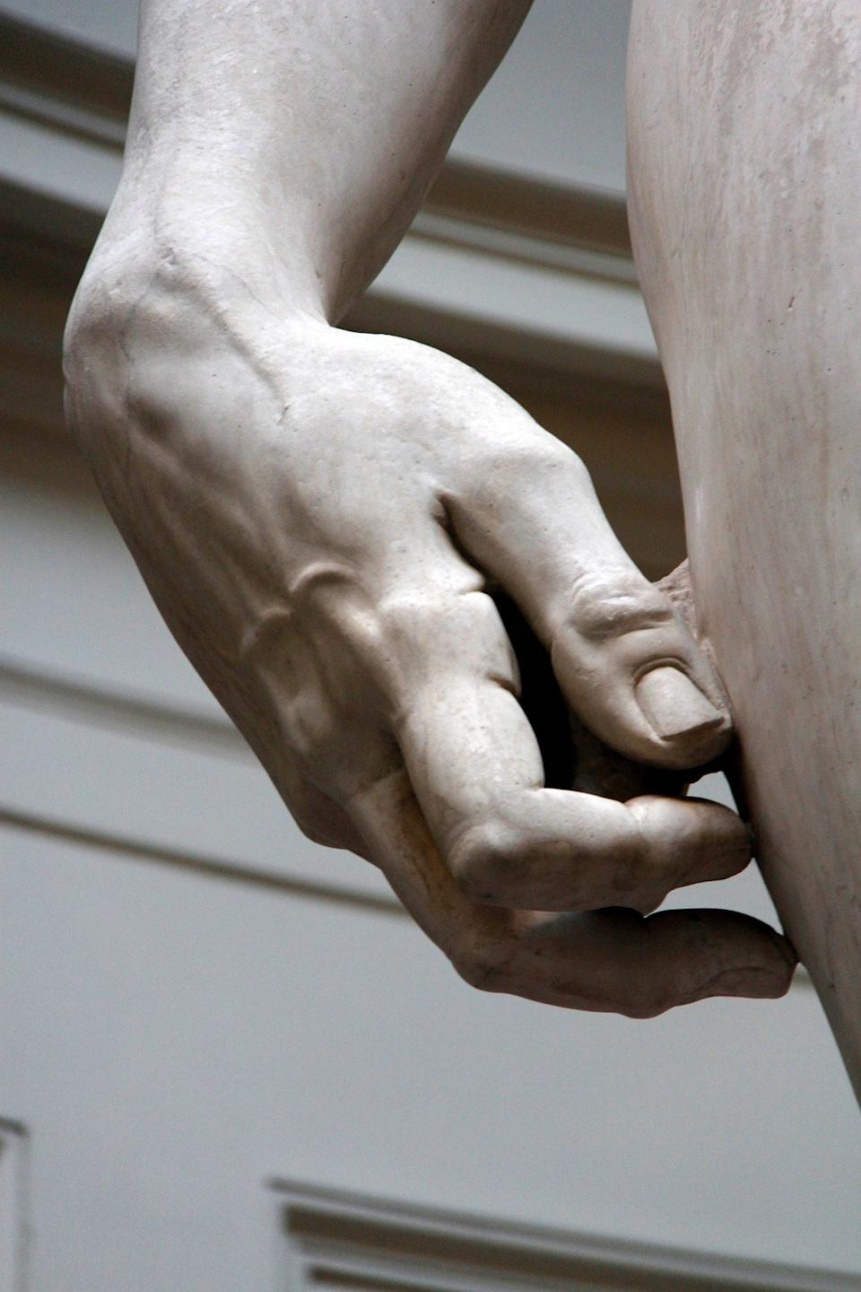 Close-up of the hand on Michelangelo's
