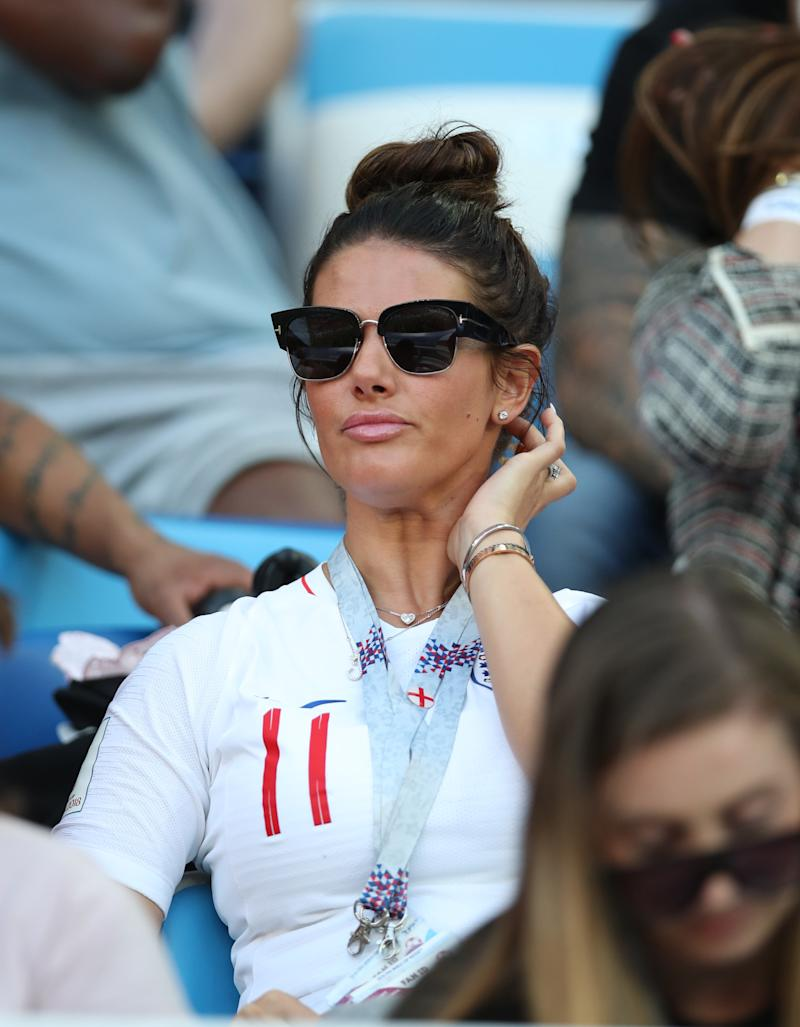 Jamie Vardy's wife Rebekah Vardy looks on during the 2018 FIFA World Cup Russia group G match between England and Belgium at Kaliningrad Stadium on June 28, 2018 in Kaliningrad, Russia. (Photo by Ian MacNicol/Getty Images)