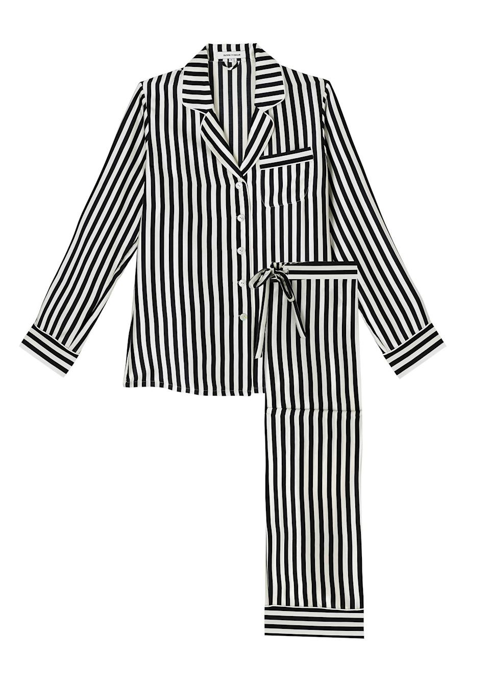 """<p>Struggling to get a good night's kip can be frustrating but it's a great excuse to invest in a brand pew pair of PJs. We're after a luxuriously silky pair of Olivia von Halle's – opt for chic stripes to nail bedroom dressing in one fell zzz. <a href=""""https://oliviavonhalle.com/uk/shop/by-product/silk-pyjamas/lila-nika-silk-pyjamas.html"""" rel=""""nofollow noopener"""" target=""""_blank"""" data-ylk=""""slk:Buy here"""" class=""""link rapid-noclick-resp""""><em>Buy here</em></a>. </p>"""