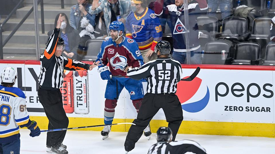 DENVER, CO - MAY 19: Referees surround Colorado Avalanche center Nazem Kadri (91) after a hit that would result in a match penalty during a Stanley Cup Playoffs first round game between the St. Louis Blues and the Colorado Avalanche at Ball Arena in Denver, Colorado on May 19, 2021. (Photo by Dustin Bradford/Icon Sportswire via Getty Images)