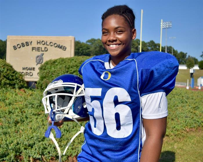 Aniah Echols, a 7th-grader, is the first girl on her middle school's football team and a starting lineman. (Photo: Oxford Middle School)